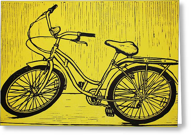 Blockprint Drawings Greeting Cards - Bike 5 Greeting Card by William Cauthern