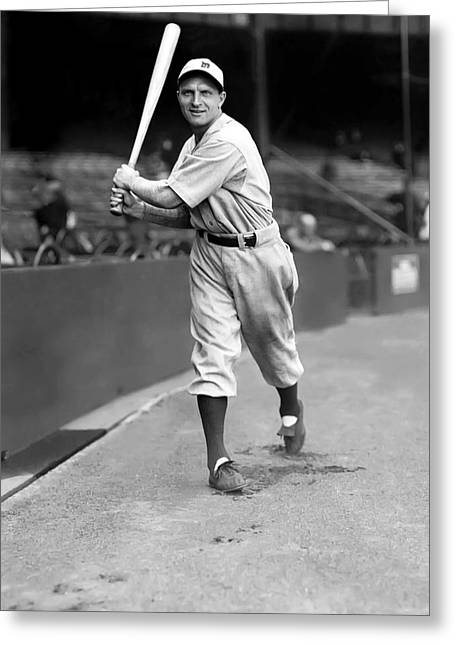 Baseball Bat Greeting Cards - Billy Rogell Greeting Card by Retro Images Archive