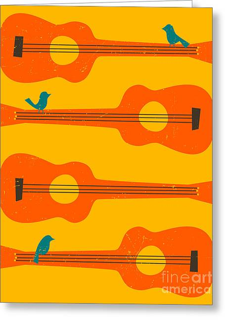 Retro Bird Greeting Cards - Birds On Guitar Strings Greeting Card by Jazzberry Blue