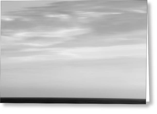 California Beach Greeting Cards - Black and White Abstract Seascape 1 Greeting Card by Pictorial Decor