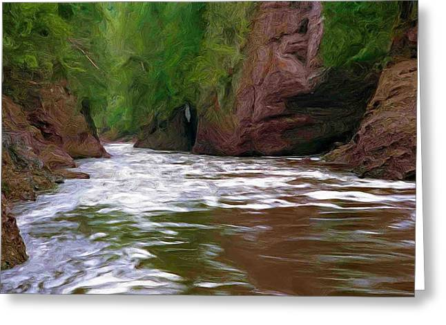 Black River Greeting Card by Pat Now