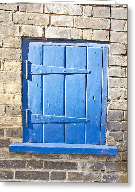 Cupboard Greeting Cards - Blue door  Greeting Card by Tom Gowanlock