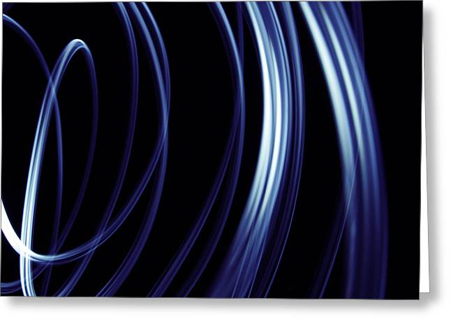 Swooshes Greeting Cards - Blue lines  Greeting Card by Les Cunliffe