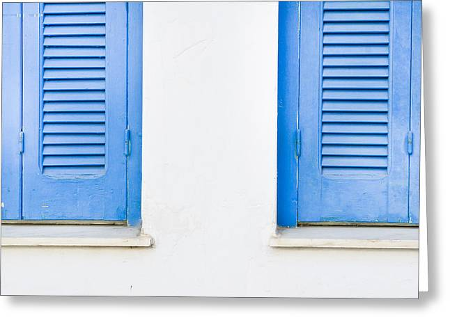 Latch Greeting Cards - Blue shutters Greeting Card by Tom Gowanlock