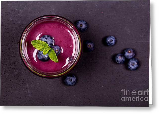 Menu Greeting Cards - Blueberry smoothie   Greeting Card by Jane Rix