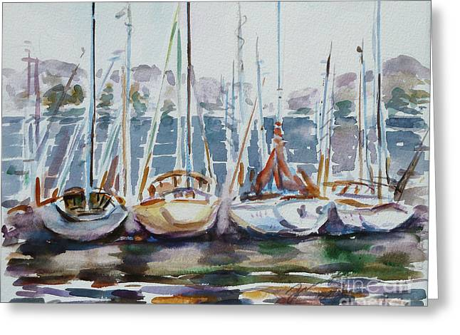 Sailboat Art Greeting Cards - 4 Boats Greeting Card by Xueling Zou