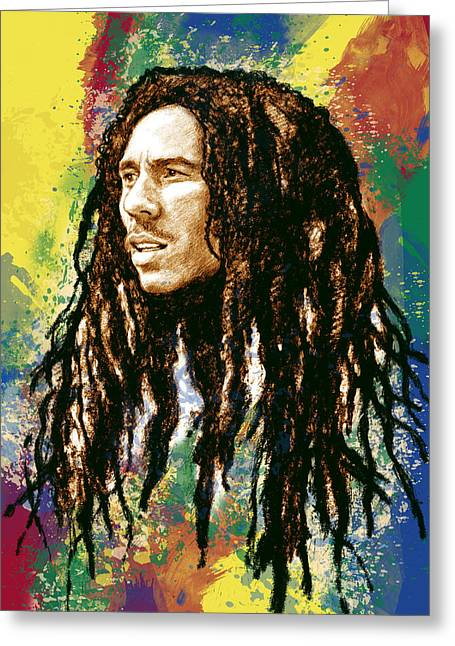 Lead Singer Greeting Cards - Bob Marley stylised pop art drawing potrait poser Greeting Card by Kim Wang