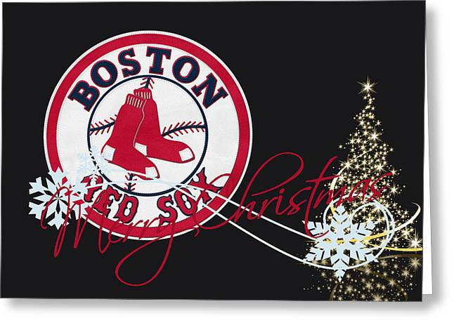 Christmas Doors Greeting Cards - Boston Red Sox Greeting Card by Joe Hamilton