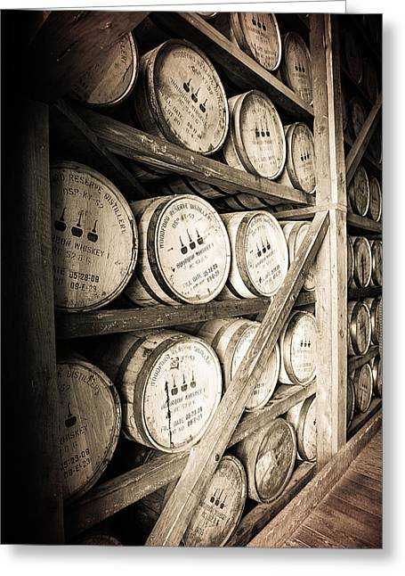 Reserve Greeting Cards - Bourbon Barrels Greeting Card by Karen Zucal Varnas