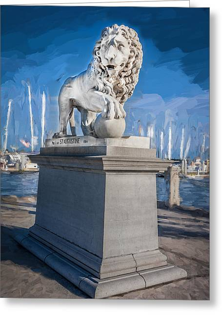 Lions Gate Bridge Photographs Greeting Cards - Bridge of Lions St Augustine Florida Painted  Greeting Card by Rich Franco