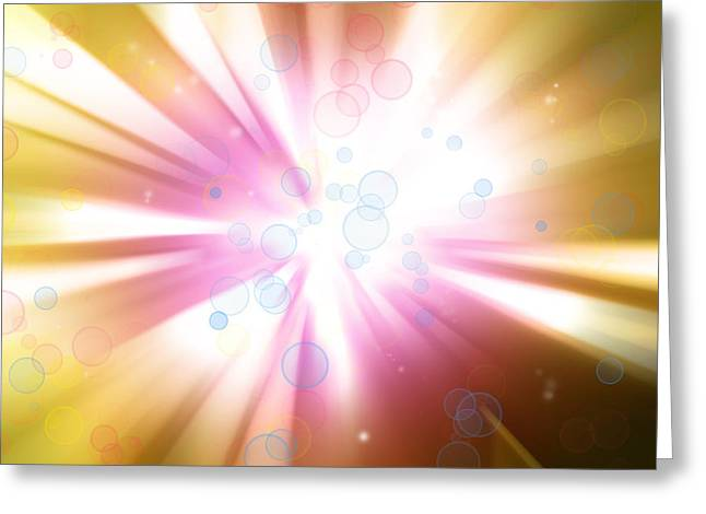 Detonation Greeting Cards - Bright background Greeting Card by Les Cunliffe