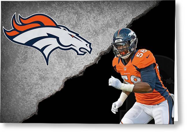 Broncos Greeting Cards - Broncos Von Miller Greeting Card by Joe Hamilton