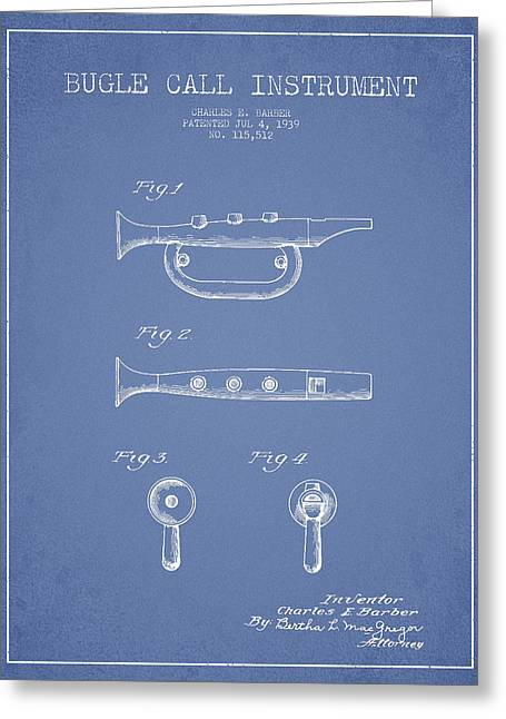Trumpet Digital Greeting Cards - Bugle Call instrument patent Drawing from 1939 - Light Blue Greeting Card by Aged Pixel