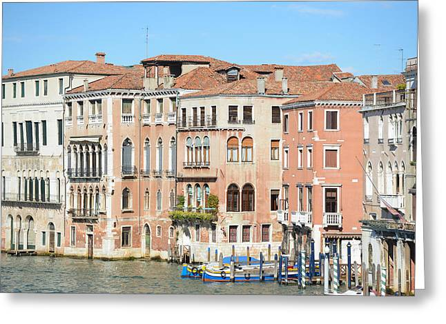Italian Sunset Greeting Cards - Buildings along the Grand Canal in Venice Italy Greeting Card by Brandon Bourdages