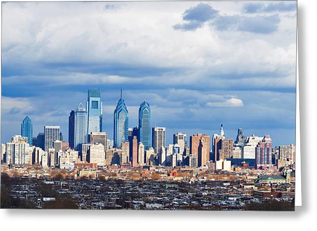 Center City Greeting Cards - Buildings In A City, Comcast Center Greeting Card by Panoramic Images