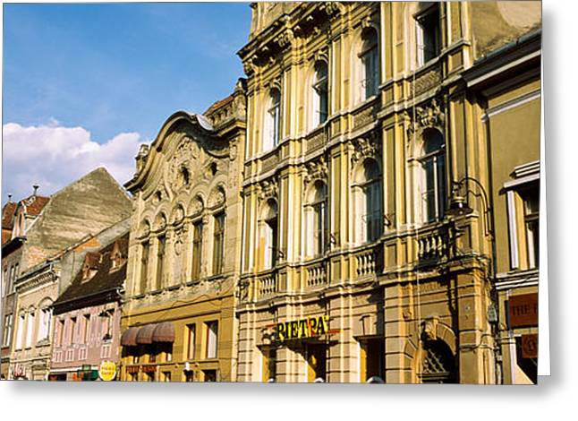 Romania Photographs Greeting Cards - Buildings In A City, Town Center Greeting Card by Panoramic Images