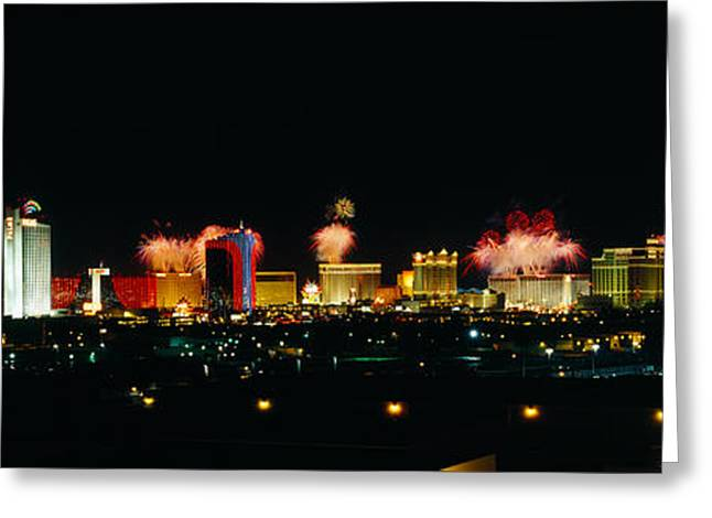 Fireworks Display Greeting Cards - Buildings Lit Up At Night, Las Vegas Greeting Card by Panoramic Images