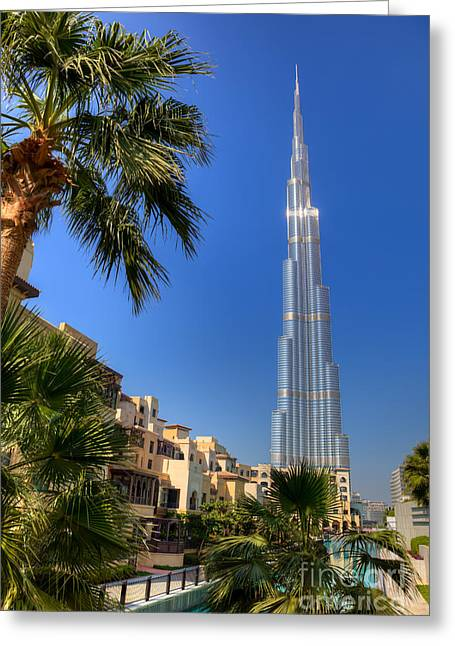 Famous Hotel Greeting Cards - Burj Khalifa Dubai Greeting Card by Fototrav Print