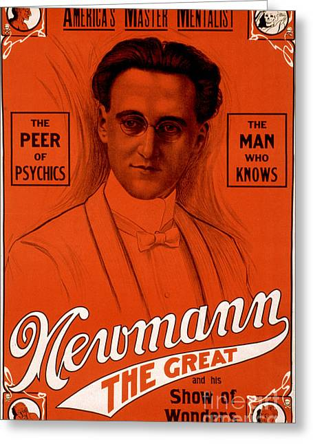 The Seer Greeting Cards - C.a. George Newmann, American Hypnotist Greeting Card by Photo Researchers