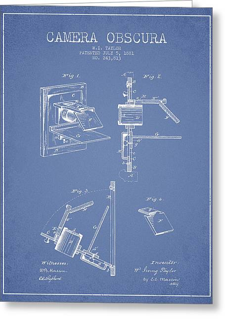 Famous Photographers Greeting Cards - Camera Obscura Patent Drawing From 1881 Greeting Card by Aged Pixel