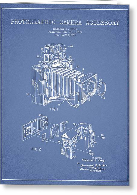 Famous Photographers Greeting Cards - Camera Patent Drawing From 1963 Greeting Card by Aged Pixel