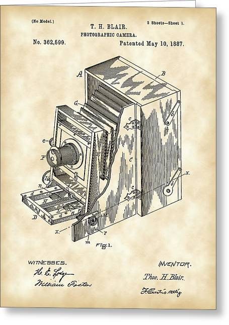 Aperture Greeting Cards - Camera Patent 1887 - Vintage Greeting Card by Stephen Younts
