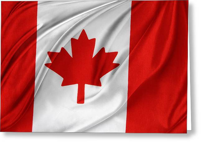 Abstract Waves Photographs Greeting Cards - Canadian flag Greeting Card by Les Cunliffe