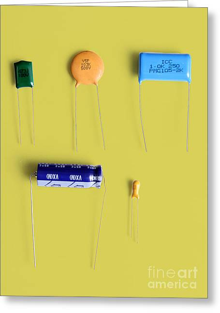 Capacitor Greeting Cards - Capacitors Greeting Card by Photo Researchers, Inc.