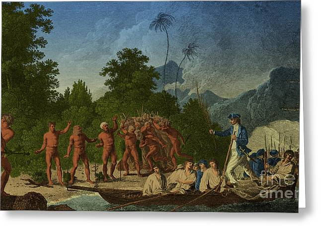 Color Enhanced Greeting Cards - Captain James Cook, English Explorer Greeting Card by Photo Researchers