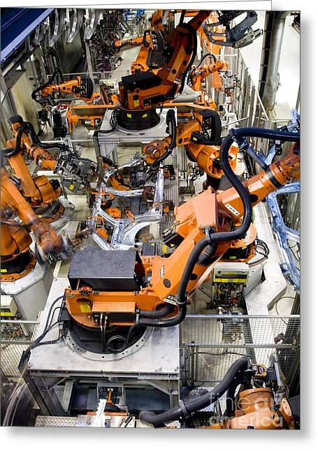 Production Line Greeting Cards - Car Factory Production Line Greeting Card by Arno Massee