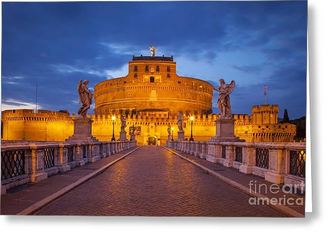 Night Angel Greeting Cards - Castel Sant Angelo Greeting Card by Brian Jannsen