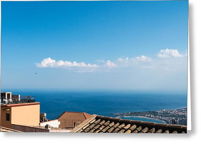 Outdoor Theater Greeting Cards - Castelmola City Scape Greeting Card by Salvatore Pappalardo