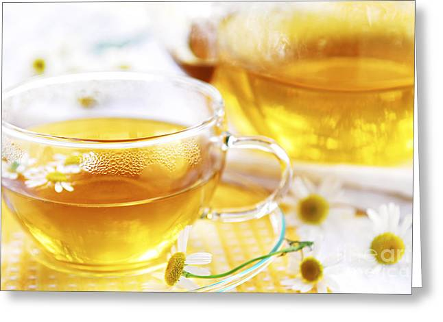 Healthy Greeting Cards - Chamomile tea Greeting Card by Elena Elisseeva