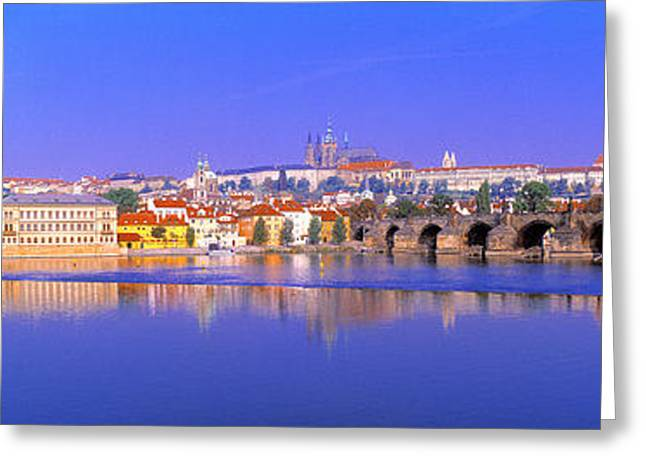 Haze Greeting Cards - Charles Bridge, Prague, Czech Republic Greeting Card by Panoramic Images