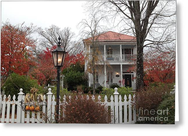 Charleston Houses Greeting Cards - Charleston Historical Victorian Mansion - Charleston Autumn Fall Trees and White Picket Fence Greeting Card by Kathy Fornal