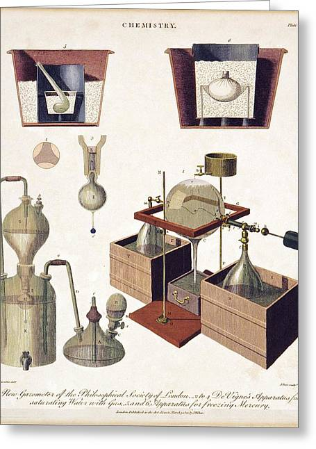 Wove Greeting Cards - Chemistry equipment, early 19th century Greeting Card by Science Photo Library