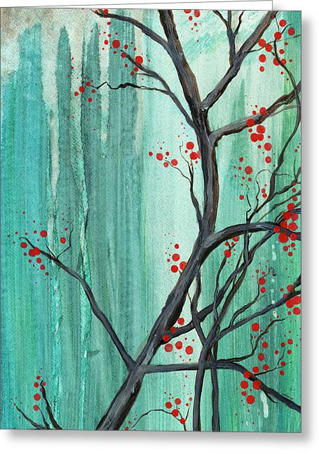 Carrie Jackson Studios Greeting Cards - Cherry Tree  Greeting Card by Carrie Jackson