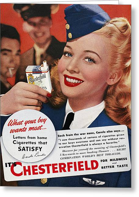 1944 Movies Greeting Cards - Chesterfield Cigarette Ad Greeting Card by Granger