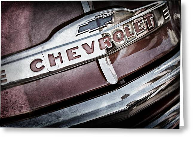 Classic Pickup Truck Greeting Cards - Chevrolet Pickup Truck Grille Emblem Greeting Card by Jill Reger