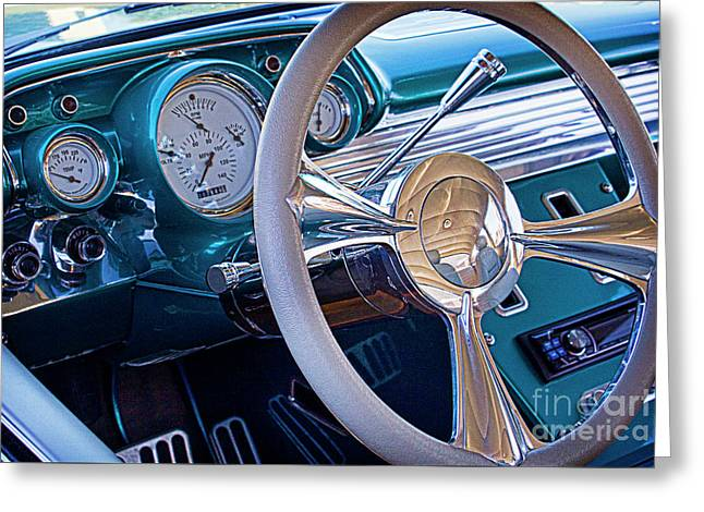 Dash-board Greeting Cards - Chevy 1957 bel air Greeting Card by Elena Nosyreva