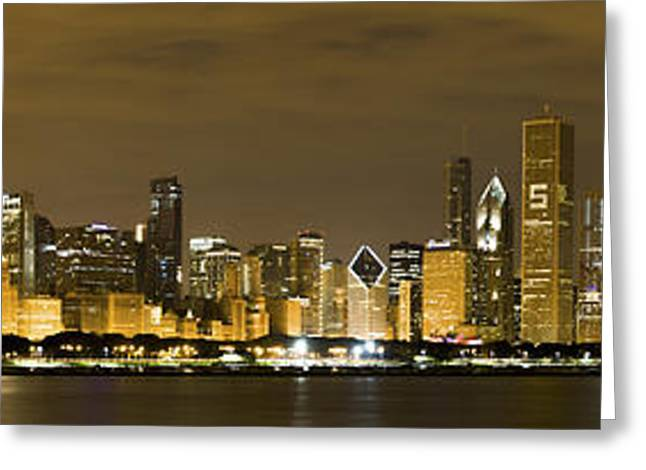 City Lights Greeting Cards - Chicago Skyline at Night Greeting Card by Sebastian Musial