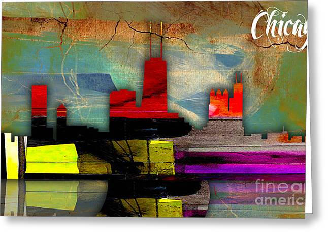Chicago Skyline Mixed Media Greeting Cards - Chicago Skyline Watercolor Greeting Card by Marvin Blaine