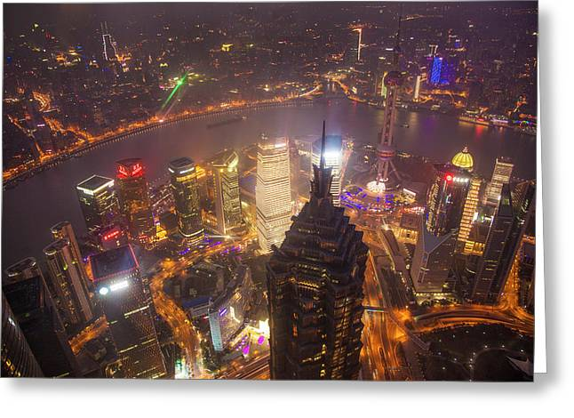 China, Shanghai Downtown Buildings Greeting Card by Jaynes Gallery