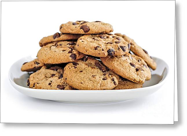 Junk Greeting Cards - Chocolate chip cookies Greeting Card by Elena Elisseeva