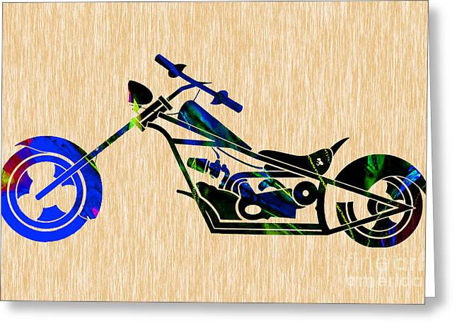 Chopper Greeting Cards - Chopper Motorcycle Greeting Card by Marvin Blaine