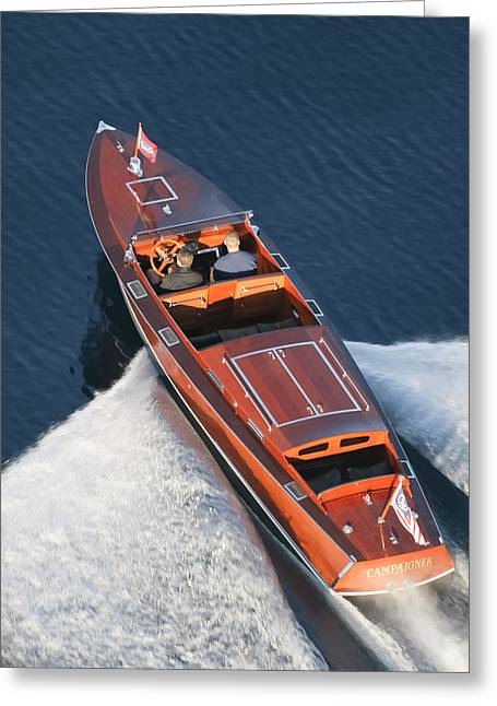 Runabout Greeting Cards - Chris-Craft Aerial Greeting Card by Steven Lapkin