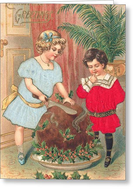 Cards Vintage Paintings Greeting Cards - Christmas card Greeting Card by British School