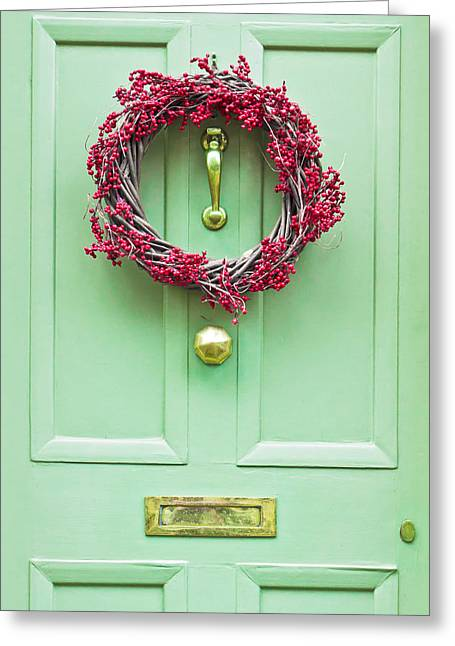 Chic Greeting Cards - Christmas wreath Greeting Card by Tom Gowanlock