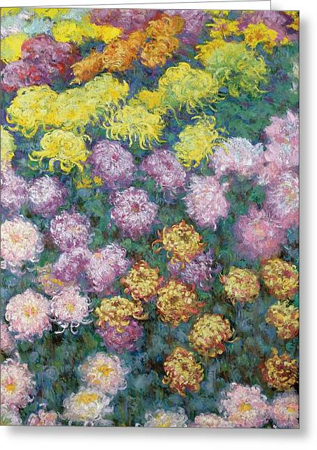 Monet Reproduction Greeting Cards - Chrysanthemums Greeting Card by Claude Monet