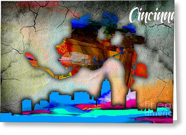 Cincinnati Skyline Greeting Cards - Cincinnati Map and Skyline Watercolor Greeting Card by Marvin Blaine